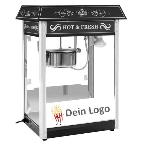 popcornmaschine schwarz mit branding